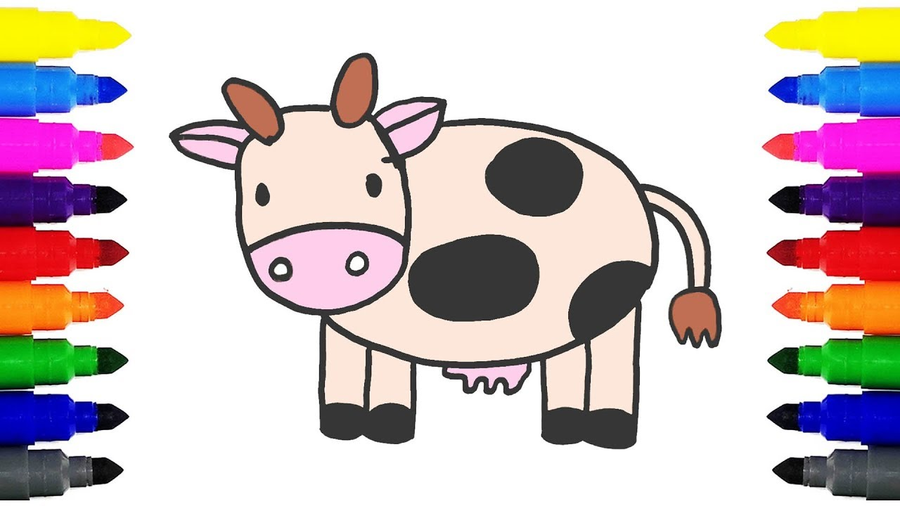 how to draw a cow coloring pages drawing and coloring cartoon
