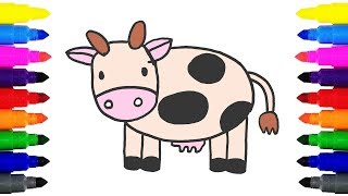 How to Draw a Cow for Kids | Drawing and Coloring Cartoon Cow For Kids Learning Colors