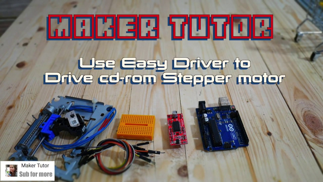 arduino easy driver cdrom stepper motor youtube