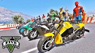 MOTOS com HOMEM ARANHA e Heróis na Rampa de Looping GTA V Mods - IR GAMES