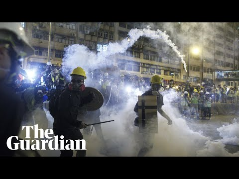 Hong Kong police fire rubber bullets as protests turn violent