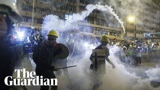 Hong Kong democracy march descends into chaos as police fire teargas at protesters