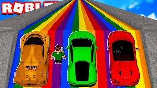 LEAP OF 9.999.999 METERS WITH LUXURY CARS in ROBLOX !!