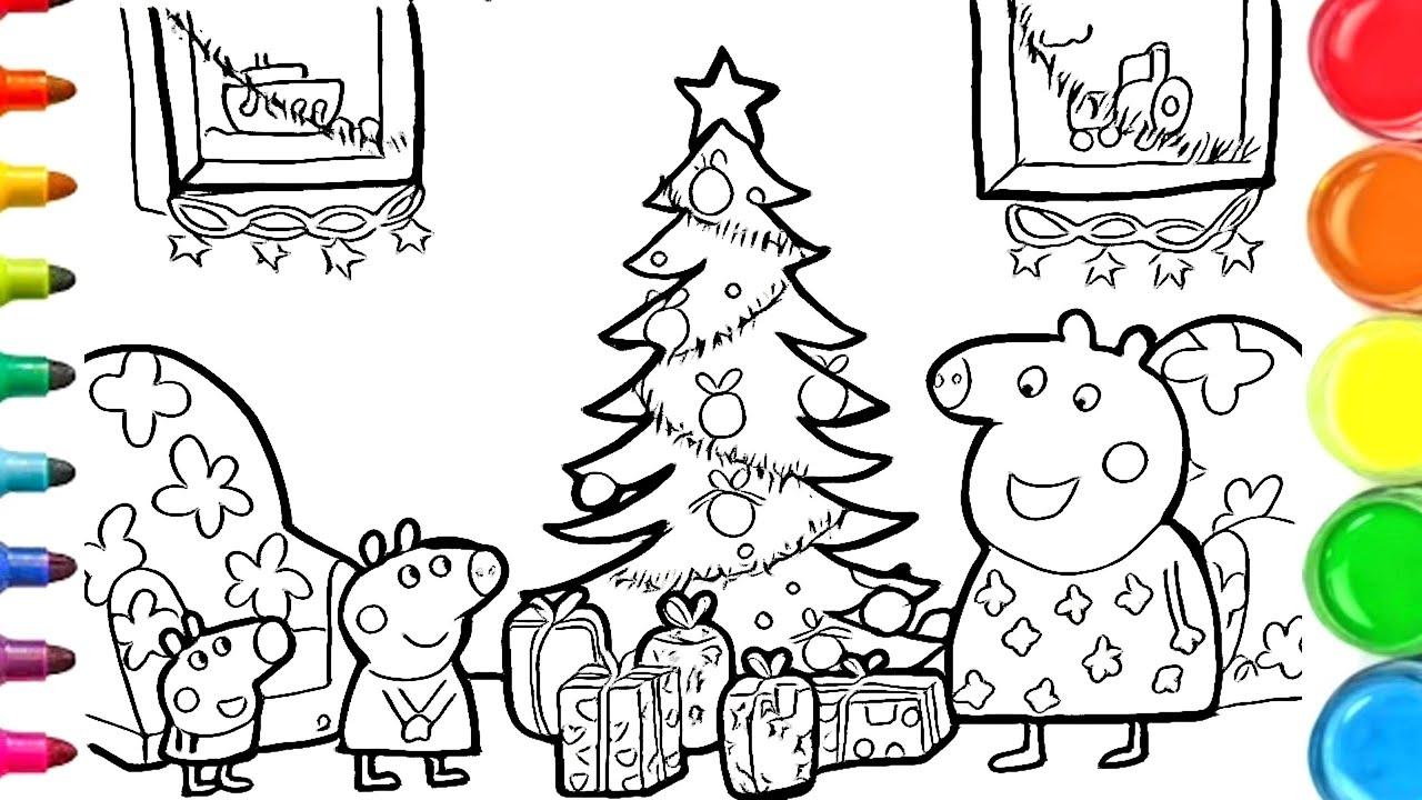 Dessin et coloriage Peppa Pig fête de Noël / draw and color christmas #TT  22