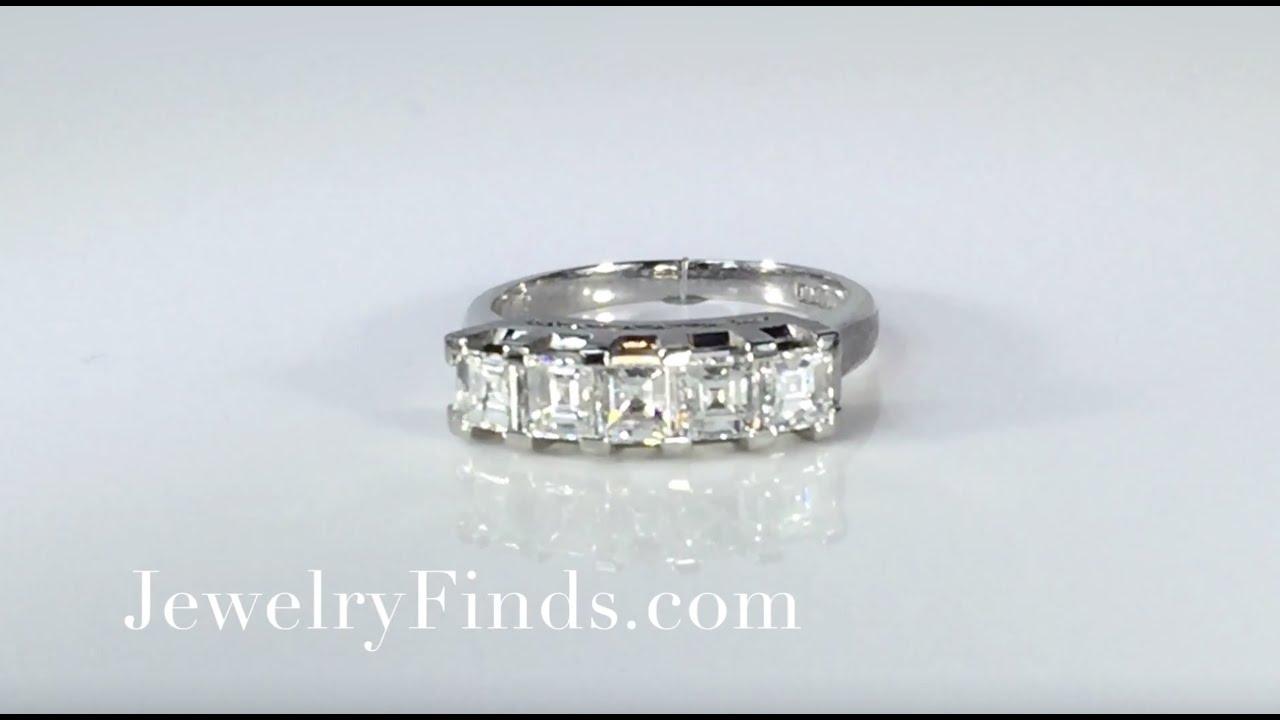 Big Retro 1 10ct T W Square Emerald Cut Five Stone Diamond Wedding