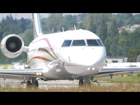 Bombardier Challenger 850 N888WU Take Off at Bern Airport