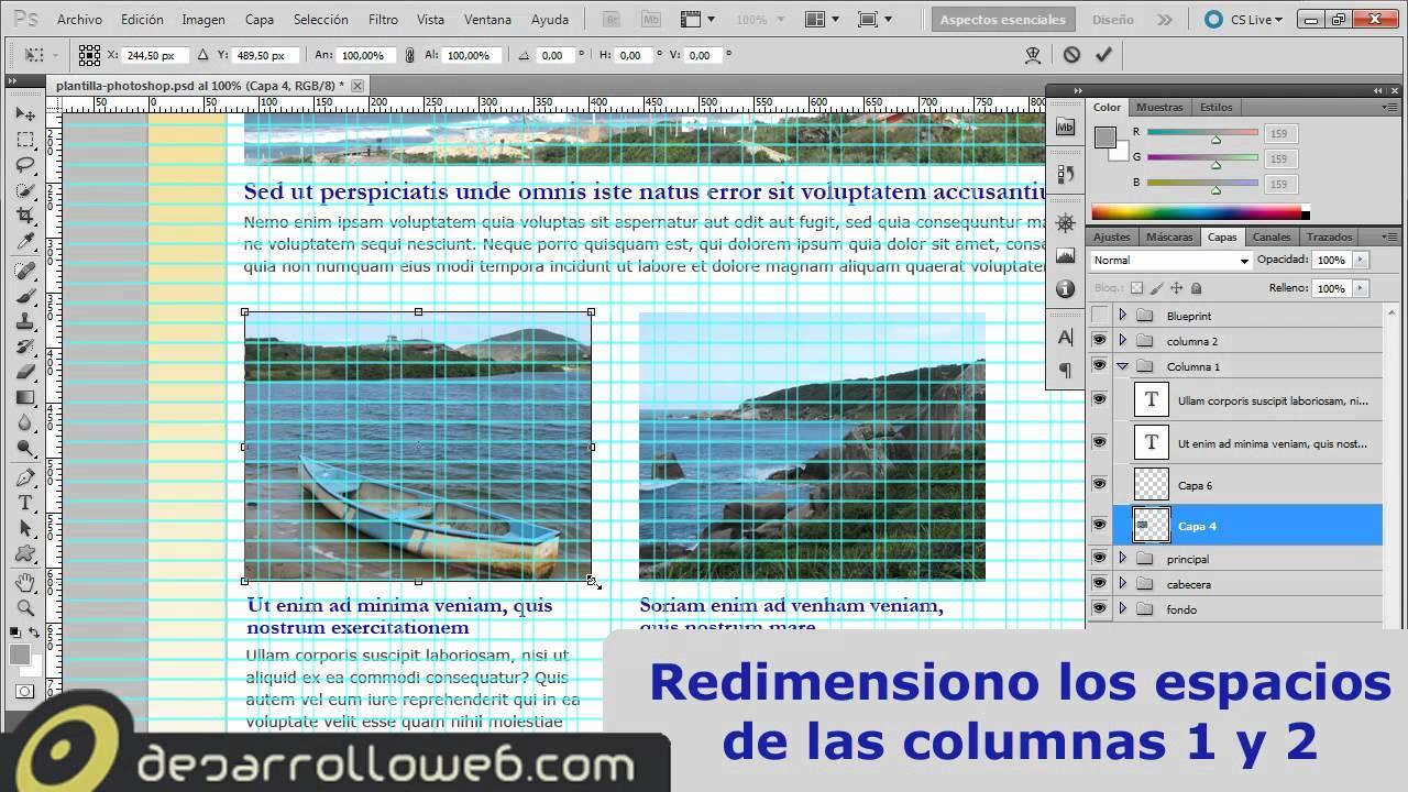 Diseñar una plantilla web con Photoshop utilizando una rejilla - YouTube