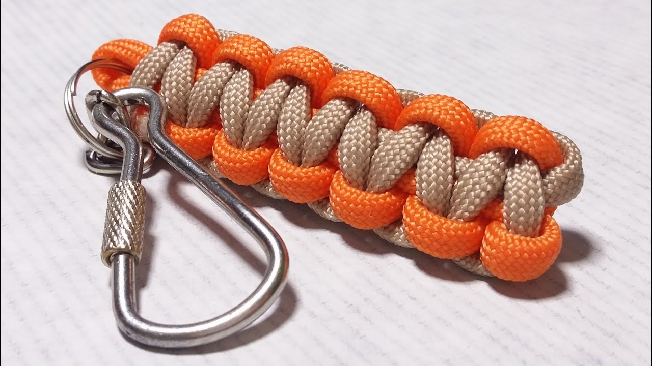 How easy do cobra weave solomon bar paracord keychain by for How to make a keychain out of paracord