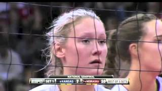 Nebraska vs Kansas NCAA Volleyball SemiFinal 2015 [Set 1 Part 1]