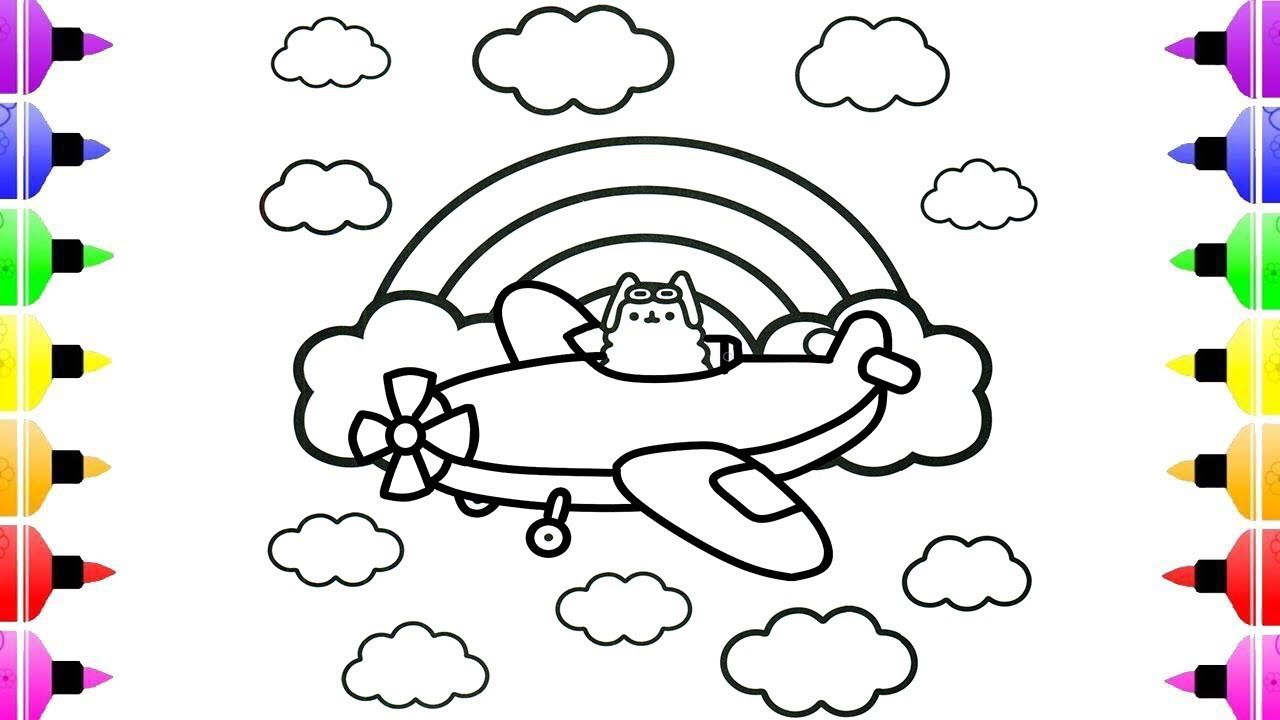 Airplane Cat Pusheen Coloring Pages For Kids Coloring Pages For Children And Shara