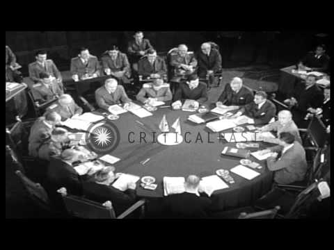 President Harry S Truman, Prime Minister of UK Clement Attlee and Joseph Stalin a...HD Stock Footage