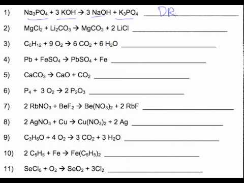 Identifying Types Of Reactions Worksheet - carolinabeachsurfreport