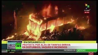 Explosión Social En Santiago Buses Quemados Estaciones De Metro Y Edificios En Llamas