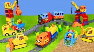 Bagger, Zug, Lastwagen, Kran & Spielzeugautos | LEGO DUPLO Baustelle für Kinder deutsch