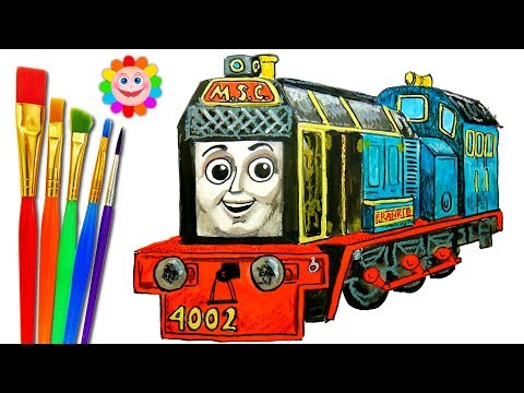 How to DRAW TRAIN Thomas and Friends Coloring Pages Frankie Train Video for Children