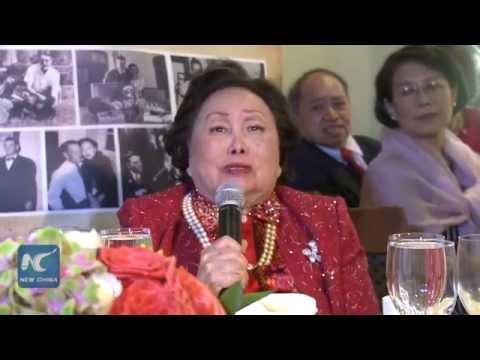 Anna Chan Chennault celebrates 91th birthday at UN Headquarters in New York陈纳德遗孀陈香梅女士联合国总部庆祝91岁生日