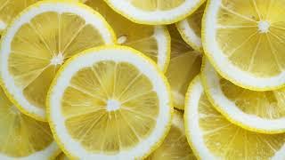 Картинка фрукты. Круглые желтые кусочки лимона. Imatge de fruita. Rodes de llimona grogues rodones