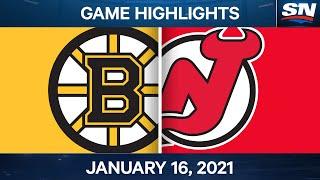NHL Game Highlights | Bruins Vs. Devils - Jan. 16, 2021