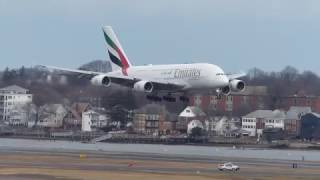 First Ever Emirates A380 Inaugural flight at Boston Logan Airport 1-26-17