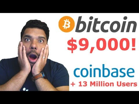 Bitcoin Surges past $9,000! Coinbase now has more users than Charles Schwab!
