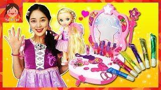 디즈니 프린세스 라푼젤 공주놀이 멜로디 화장대 DIY 매직펜 라푼젤 드레스 액세서리 따라하기 꾸미기 어린이 인형놀이 장난감 [유라]