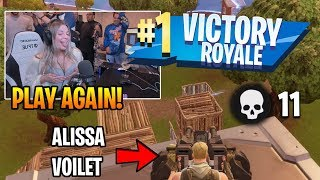 Tfue GETS ALISSA VIOLET HER FIRST WIN ON STREAM (HILARIOUS!) Fortnite Funny Moments #13