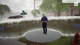 The Weather Channel Hurricane Laura immersive mixed reality storm surge safety explainer