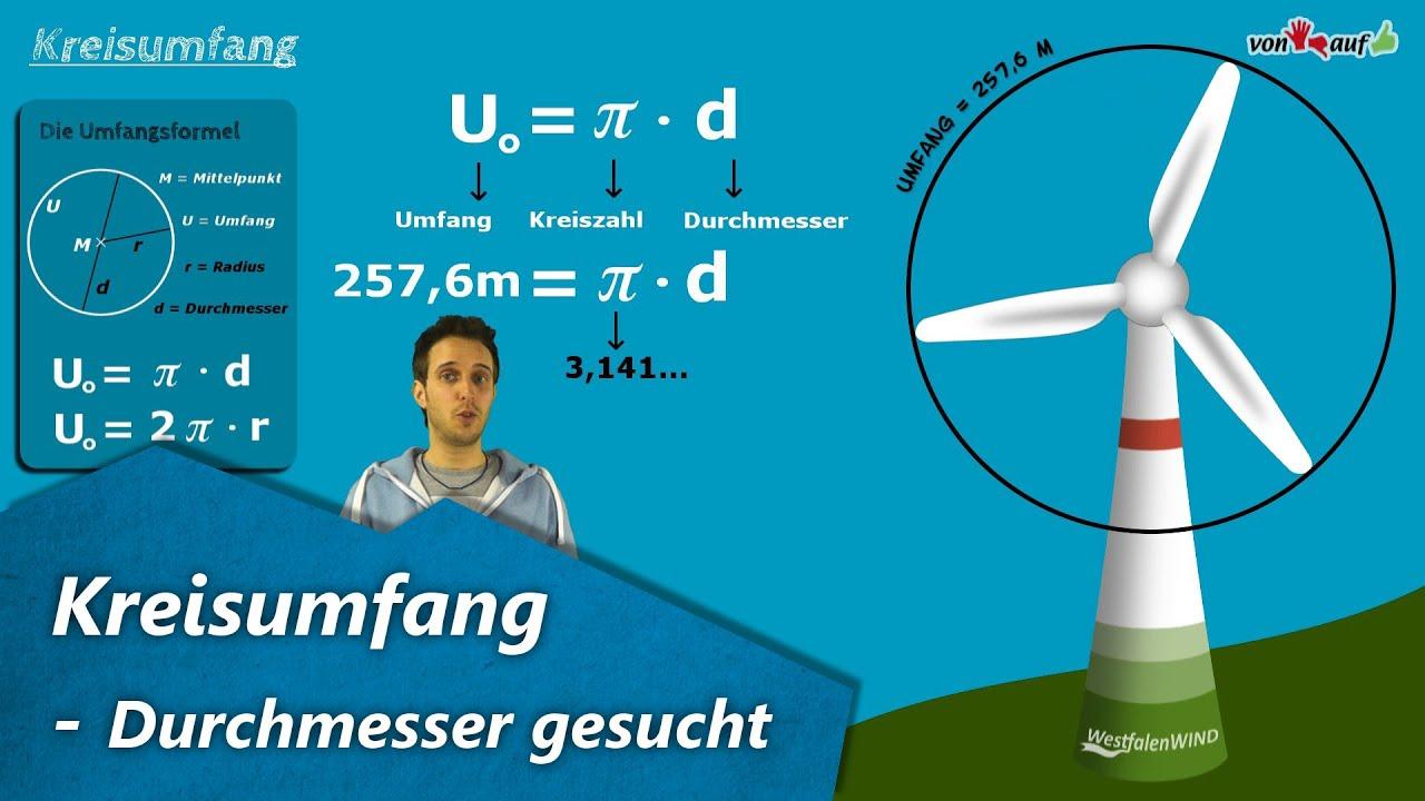Kreisumfang - Beispielrechnung mit Radius, Durchmesser, Pi ...