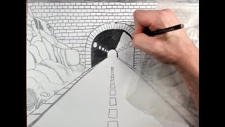 How to Draw a Highway Tunnel in One Point Perspective