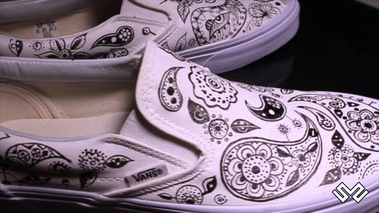 Vans Basse Slip On Fantasia Astratta - Custom Shoes - YouTube