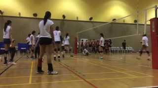 Alyssa Valdez slips during warm-up in the tune-up game vs. Singapore