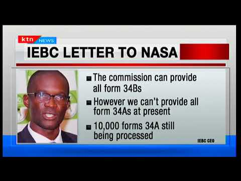 IEBC writes a letter to Raila Odinga's NASA stating they can't provide all forms 34 A