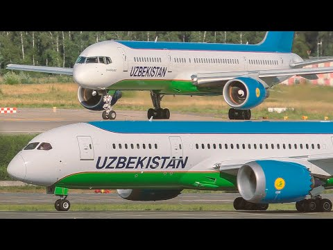 Узбекистон хаво йуллари в Москве (DME). Посадки и взлеты Boeing  787, 767, 757 и Airbus A320