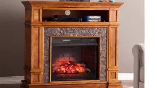 FI9333: Belleview Faux Stone Infrared Media Fireplace - Sienna
