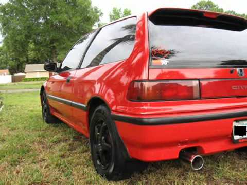 My 91 Honda Civic Hb Red Ef 1.5l All Stock The Beast Hatch Back   YouTube