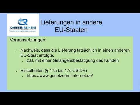 Lieferungen in andere EU Staaten Teil 2 B2B