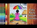 VERY EASY RAINY SEASON SCENERY DRAWING FOR BEGINNERS | A GIRL WALKING IN THE RAIN WITH OIL PASTEL