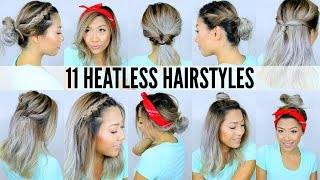 11 EASY HEATLESS HAIRSTYLES FOR SHORT & LONG HAIR | Under 5 Mins - Back to School