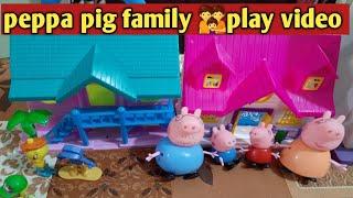 Peppa Pig family play video   part 1   hindi   peppa pig family story   peppa pig pretend play video