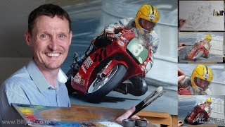 Joey Dunlop 2000 250 Lightweight Isle of Man TT Oil Painting time lapse by Billy