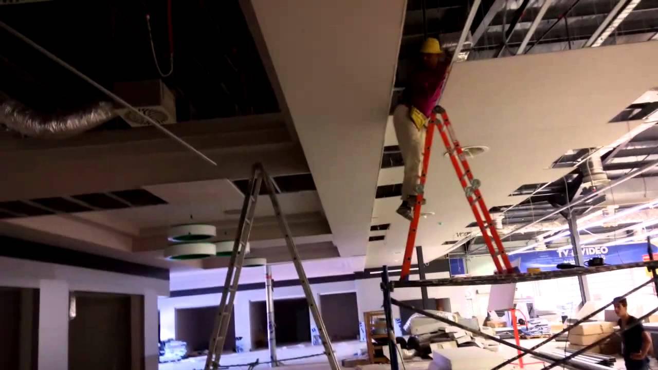 Faux plafond ba13 sur charpente m tallique avec med kanin youtube - Faux plafond resille metallique ...