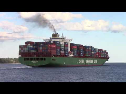 Container Ship CSCL AFRICA Sailing from the Port of Halifax (Aug 8, 2016)