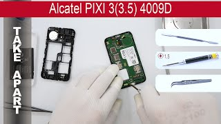 How to disassemble 📱 Alcatel One Touch PIXI 3 (3.5) 4009D, Take Apart, Tutorial