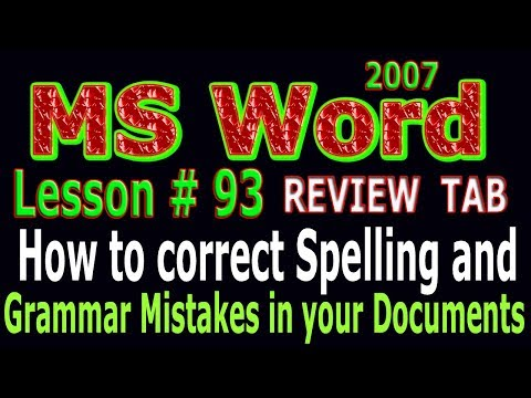 Spelling and Grammar Correction in MS Word 2007 Tutorial in urdu Lesson # 93