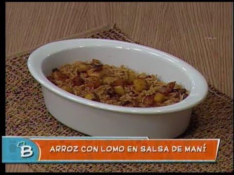 Arroz con lomo en salsa de maní