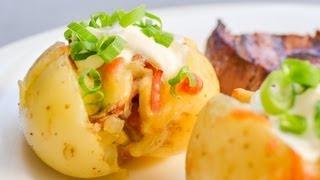 Cheesy Mini Stuffed Roast Potatoes - Video Recipe