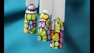 Абстракция на ногтях/Суперский летний дизайн/Очень крутой яркий дизайн ногтей/китайская роспись