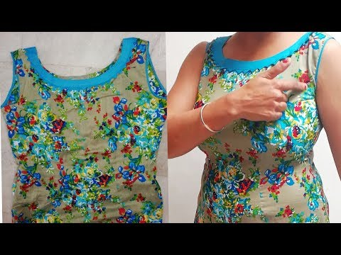 Sleeves less kurta cutting and stiching full tutorial with all tips /designer neckline /step by step