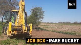 JCB 3CX with Rake Bucket Attachment