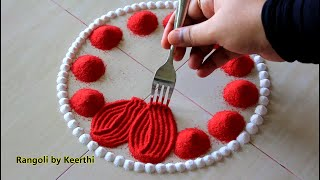 Simple rangoli design using fork & 2 colours l Ugadi muggulu l rangoli designs l Gudi padwa rangoli
